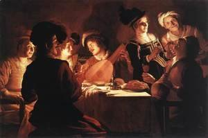Gerrit Van Honthorst - Supper With The Minstrel And His Lute