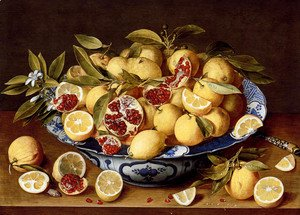 Gerrit Van Honthorst - A Still Life Of A Wanli Kraak Porcelain Bowl Of Citrus Fruit And Pomegranates On A Wooden Table