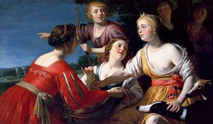 Gerrit Van Honthorst - Diana Resting After The Hunt, With Shepherdesses And Two Greyhounds, A Landscape Beyond