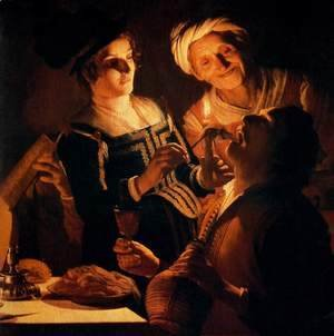 Gerrit Van Honthorst - Supper Party (detail) 2