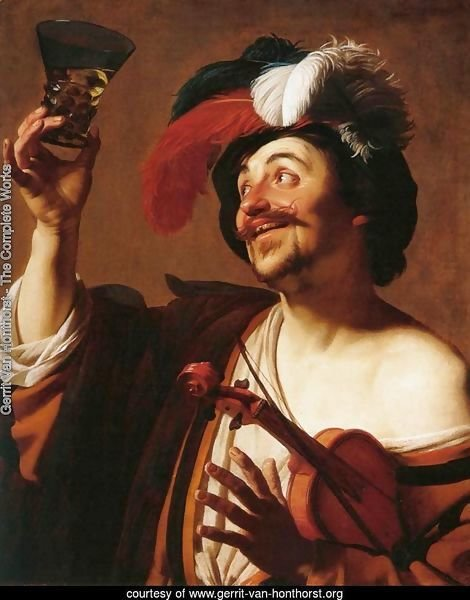 The Happy Violinist with a Glass of Wine