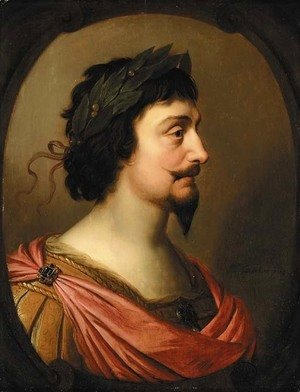 Gerrit Van Honthorst - Portrait of King Frederick V of Bohemia, bust-length, in profile, a la Romaine, in a feigned oval cartouche