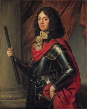 Gerrit Van Honthorst - Portrait of Prince Edward of the Palatinate (1625-1663), three-quarter-length, in armour and a red mantle, a baton in his right hand, before a column