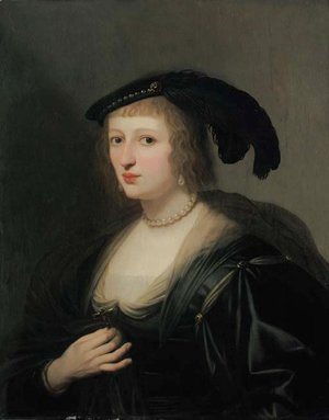 Portrait of Ursula van Solms, half-length, in a black dress and feathered hat, her crucifix in her right hand