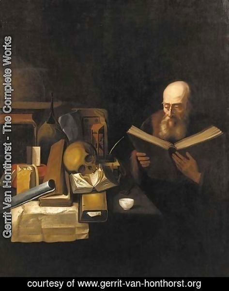 Gerrit Van Honthorst - A philosopher in his study