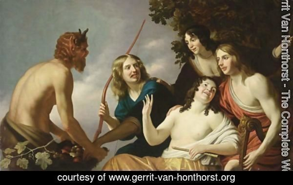 Pan Presenting Grapes To A Party Of Young Men And Women