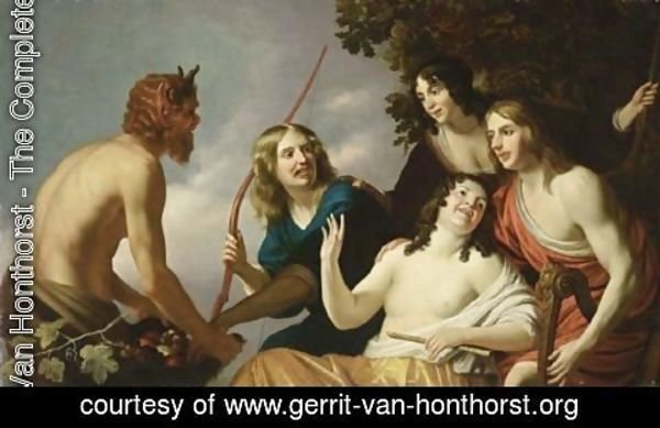 Gerrit Van Honthorst - Pan Presenting Grapes To A Party Of Young Men And Women
