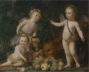 Gerrit Van Honthorst - Three Children With Fruit And A Jaguar