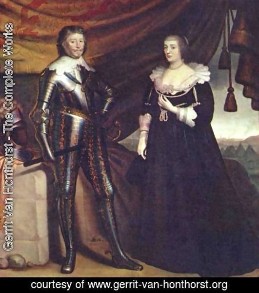 Gerrit Van Honthorst - Prince Frederik Hendrik, and his wife Amalia van Solms