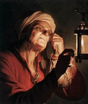 Old Woman Examining a Coin