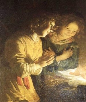 Gerrit Van Honthorst - Adoration of the Child (detail) c. 1620