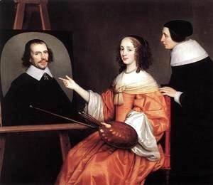 Gerrit Van Honthorst - Margareta Maria de Roodere and Her Parents 1652